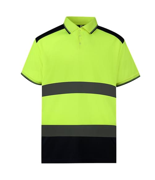 Yoko 2-Tone S/S Polo Shirt Yellow/navy Size L
