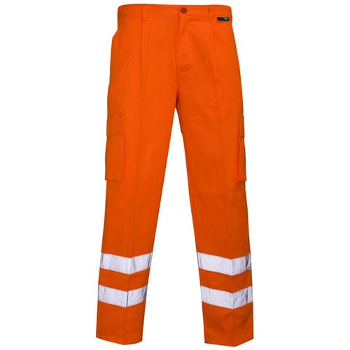 Combat Hi Vis Trouser P C Orange Ankle Band 280gsm W34 Reg