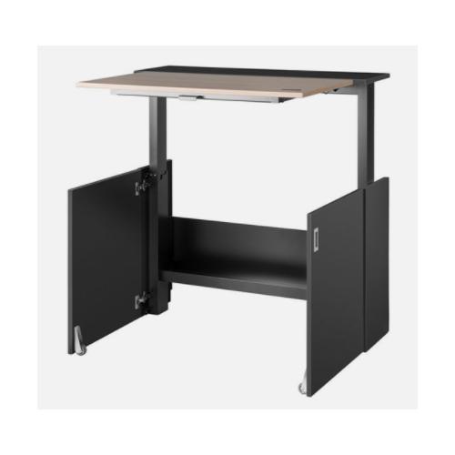 Nomique HomeFit Ergonomic Sit / Stand Desk 1050mm, Black body, oak desktop