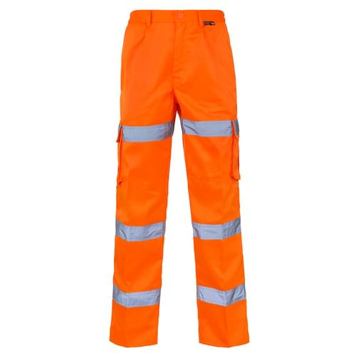 HV Orange Combat Trouser 3 Band P C with Knee Pad W54 Reg