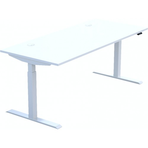 HiRise desk, 1400 x 800mm top, White MFC, White frame