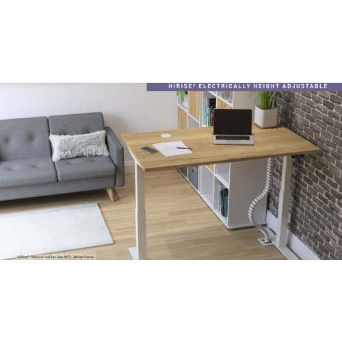 HiRise desk, 1400 x 800mm top, Natural Halifax Oak 3DMFC, White frame