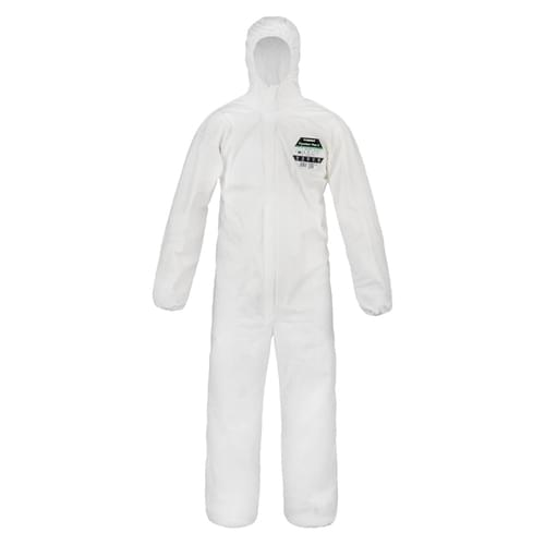 Pyrolon Plus 2 White coverall with hood size Medium