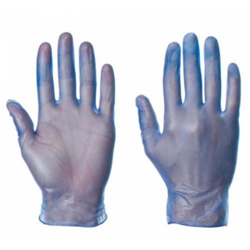 SuperTouch Vinyl Powder Free Vinyl Gloves Blue Large Box 100