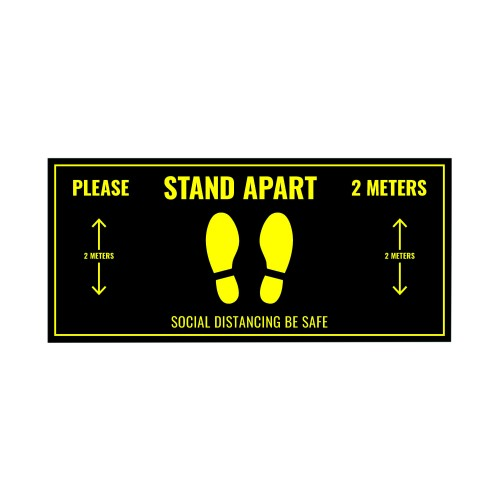 Social Distance Floor Sticker 400x180mm (Pack of 5)