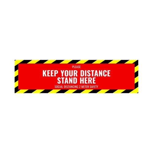 Social Distance Floor Sticker 500x130mm (Pack of 5)