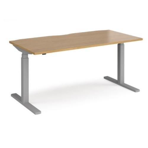 Axel Sit Stand Desk 1600mmW x 800mmD Oak Top Silver Frame