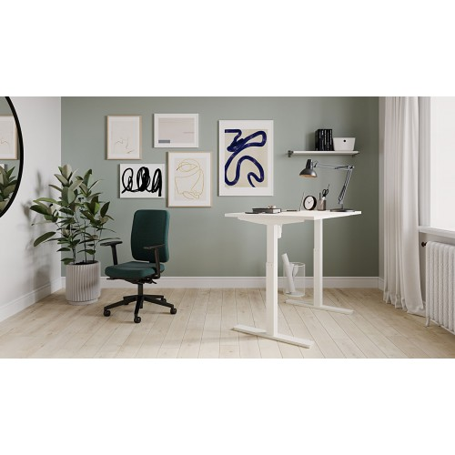 Lutz Sit Stand Electric Desk 160cmW x 80cmD White Top Silver Frame