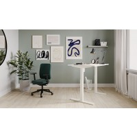 Lutz Sit Stand Electric Desk 160cmW x 80cmD White Top Silver Frame