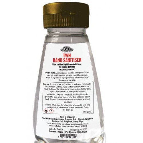 TWH HAND SANITISER Liquid 250mil Bottle Hand sanitiser liquid in an alcohol base for hygiene purposes. (W.H.O. SPECIFICATION) Contains : Ethanol (70%) Glycerine, H2O2, Water.