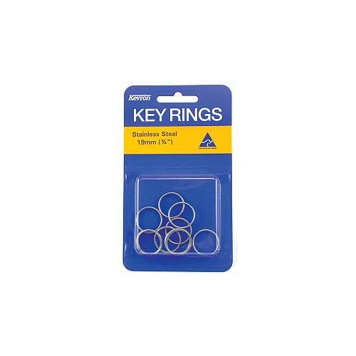 Kevron 19mm Keyrings Stainless Steel card 10s