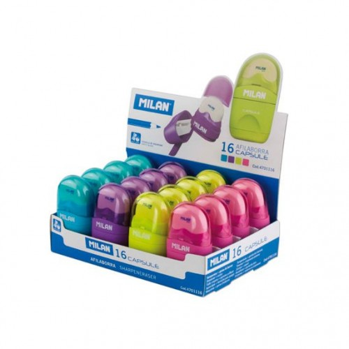 Milan Capsule Eraser and Sharpener round Box 16