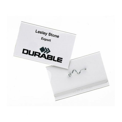 Pin Name Badge 54X90mm Clear Pk10