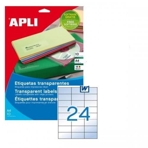 Apli Tran Glossy Inkjet label 24up Pk10