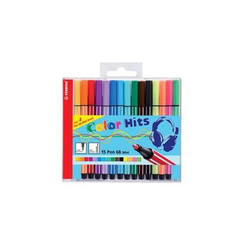 Stabilo 68 Fibre-Tip Mini Colour Pen Wallet 15 pcs