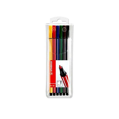 Stabilo 68 Fibre-Tip Pen 6 Ast cols