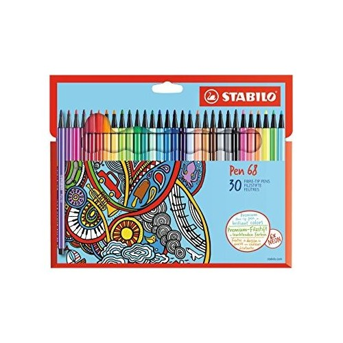 Stabilo 68 Fibre-Tip Pen Ast neon cols Pk30
