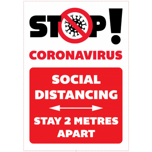 A3 Social Distancing wall mounted sign