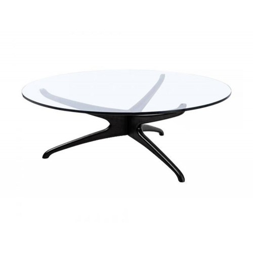 Elite Circular Glass Coffee Table with 3 Legged Base