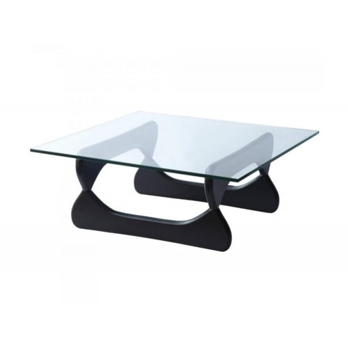 Elite Rectangular Glass Coffee Table with Black Base