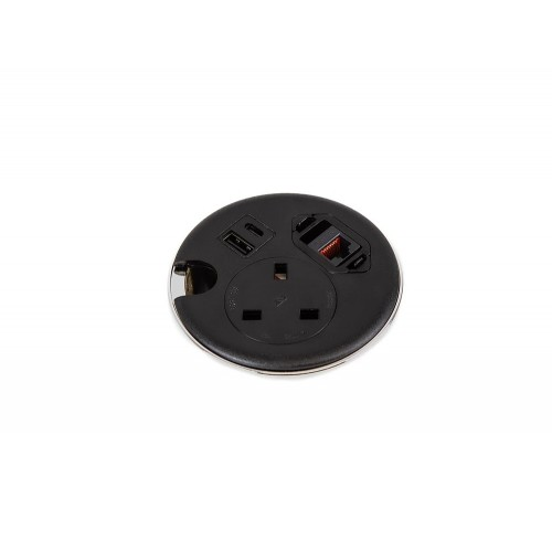 Punto Plus In-Desk Power Module with 1x Power, 2x USB Charge and 1x Data - Black
