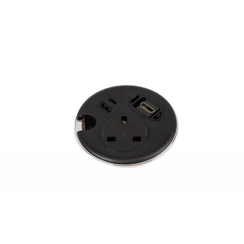 Punto Plus In-Desk Power Module with 1x Power, 2x USB Charge and 1x HDMI - Black