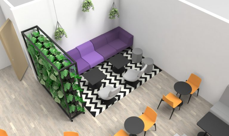 Canteen breakout area with living walls