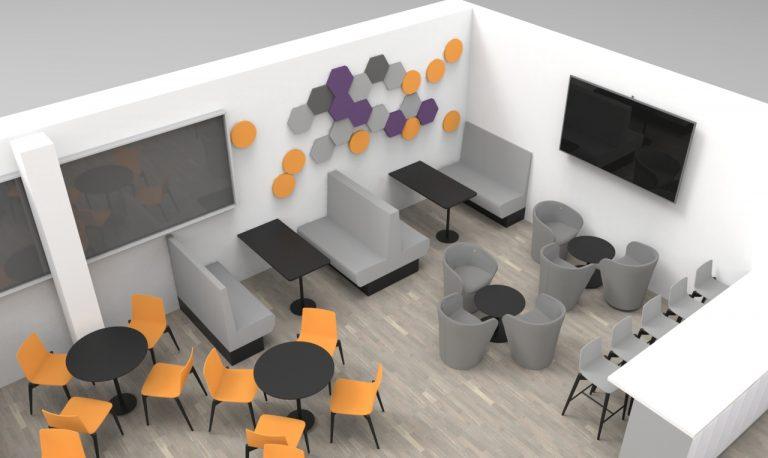 durable canteen furniture render
