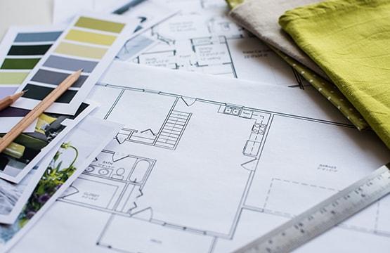2D Office Room design plan on paper