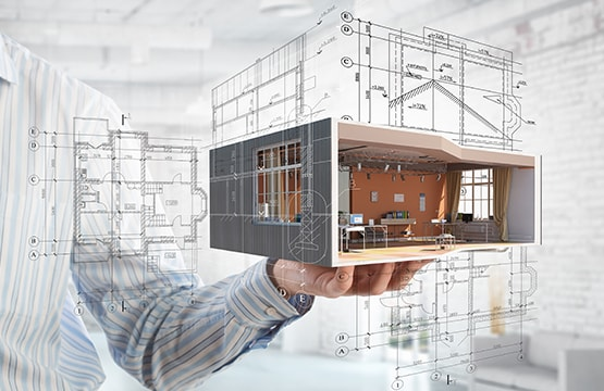 Room model with planning design sketches in background