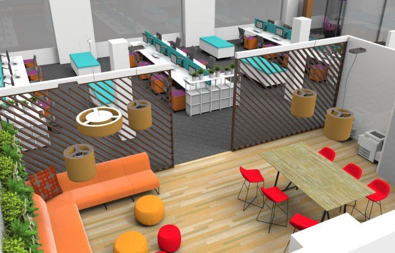 Wooden panels room dividers for office design