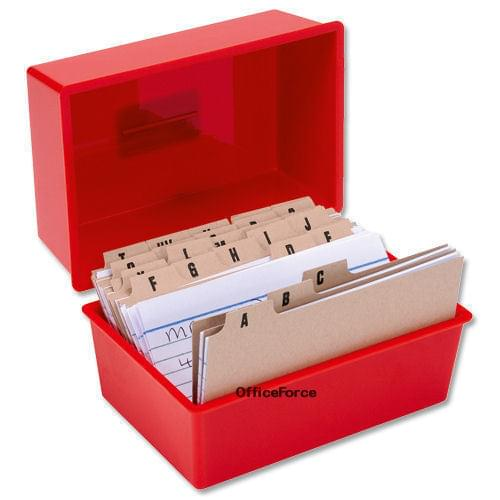 Red Record Card Box with 300 Cards and A-Z Index 6X4 152x101mm by 5 Star Office, PRM1008