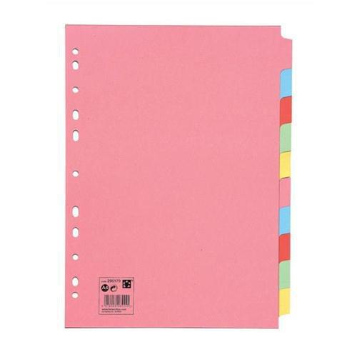 2 Sets of 10 Part Subject File Dividers A4 Plain Coloured Tabs by 5 Star Office, PRM1045