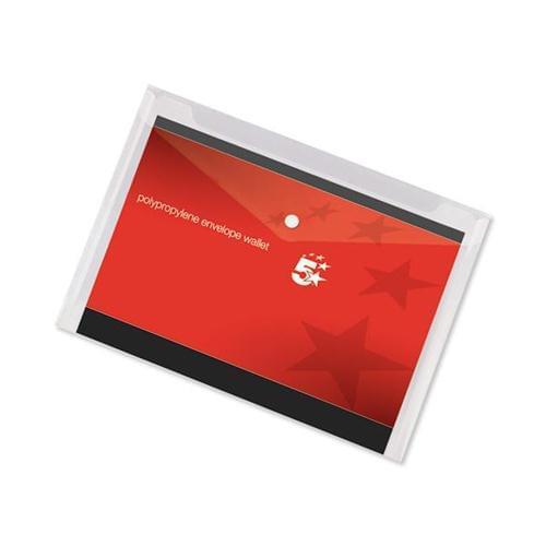 10 Clear A3 Plastic Envelope Popper File Document Wallets Folder Pocket by 5 Star Office, PRM1043