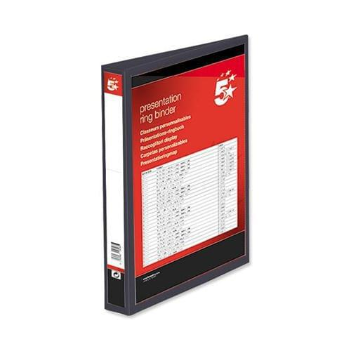 40 A4 Presentation Display Binder Folders 25mm Black 4D PVC Ring File by 5 Star Office, PRM1353