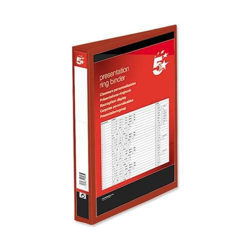 40 A4 Presentation Display Binder Folders 25mm Red 4D PVC Ring File by 5 Star Office, PRM1355