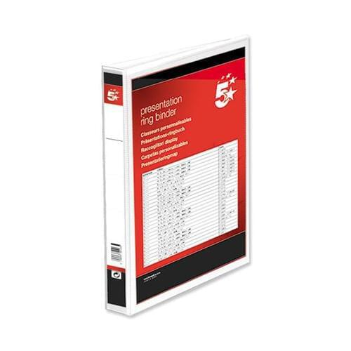 20 A4 Presentation Display Binder Folders 38mm White PVC 2 Ring File by 5 Star Office, PRM1053