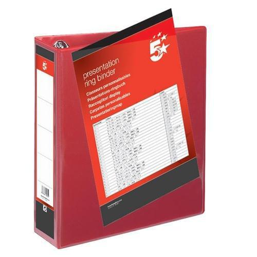 100 A4 Presentation Display Binder Folders 50mm Red PVC 4 Ring File by 5 Star Office, PRM1647