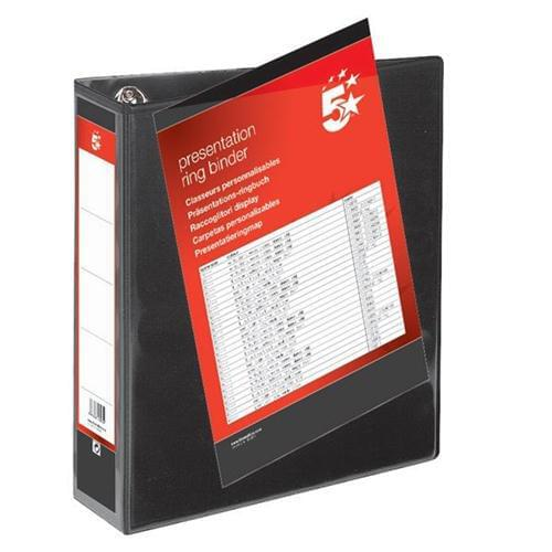 100 A4 Presentation Binders Large Capacity 65mm Black 4 D Ring Wide File by 5 Star Office, PRM1650