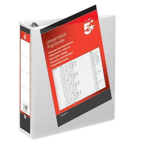 50 A4 Presentation Display Binder Folders 65mm White PVC 4 Ring File by 5 Star Office, PRM1462