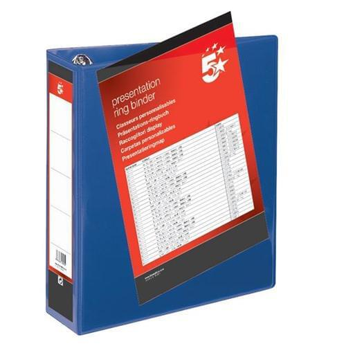 40 A4 Presentation Display Binder Folders 65mm Blue PVC 4 Ring File by 5 Star Office, PRM1369