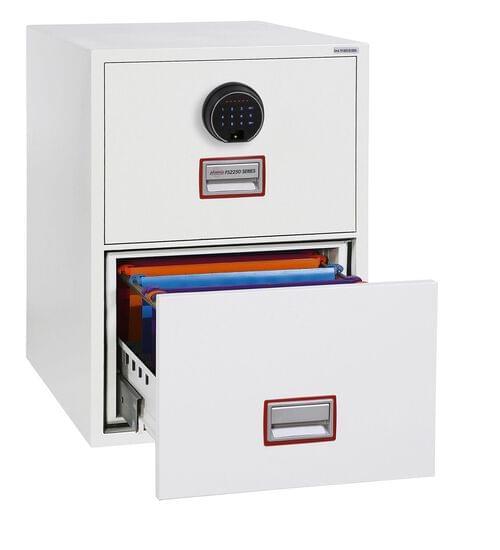 Phoenix World Class Vertical Fire File FS2252F 2 Drawer Filing Cabinet with Fingerprint Lock by Phoenix, PSFS2252F