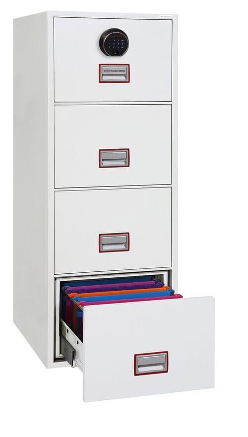Phoenix World Class Vertical Fire File FS2254F 4 Drawer Filing Cabinet with Fingerprint Lock by Phoenix, PSFS2254F