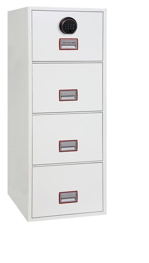 Phoenix World Class Vertical Fire File FS2274F 4 Drawer Filing Cabinet with Fingerprint Lock by Phoenix, PSFS2274F