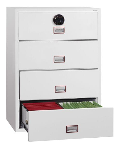 Phoenix World Class Lateral Fire File FS2414F 4 Drawer Filing Cabinet with Fingerprint Lock by Phoenix, PSFS2414F