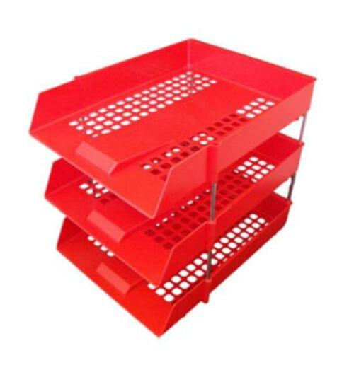 Stacking IN/OUT Letter Trays Desk Set with Risers Red by 5 Star Office, PRM1346