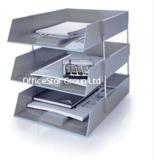 Stacking IN/OUT Letter Trays Desk Set with Risers Grey by 5 Star Office, PRM1345