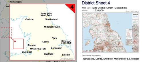 Postcode Wall Map Of Northern England Newcastle-Leeds-Manch-Liver D4