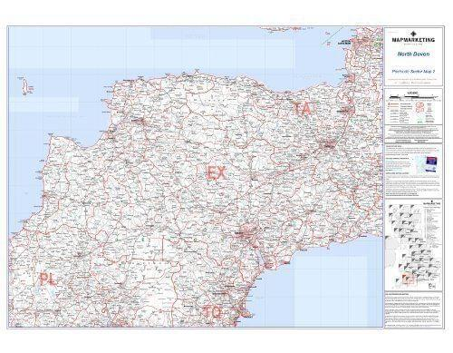 Laminated Postcode Wall Map Of North Devon England Uk Britain S2