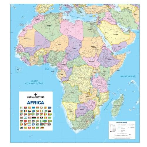 Political Wall Map of Africa including South Sudan Laminated Colour Coded by Office Star Group, MAP017